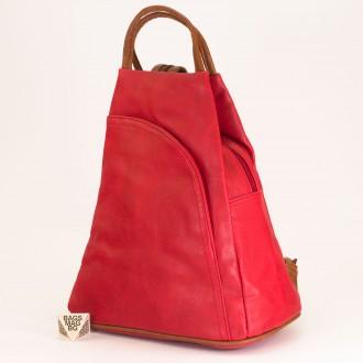 КОД: 3500 Дамска раница от плътна и висококачествена еко кожа в червен цвят