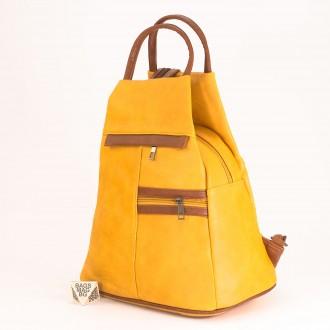 КОД: 3550 Дамска раница / чанта от плътна и висококачествена еко кожа в жълт цвят