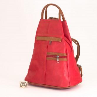 КОД: 3550 Дамска раница / чанта от плътна и висококачествена еко кожа в червен цвят