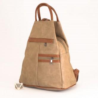 КОД: 3550 Дамска раница / чанта от плътна и висококачествена еко кожа в цвят каки
