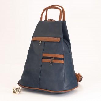 КОД: 3550 Дамска раница / чанта от плътна и висококачествена еко кожа в син цвят
