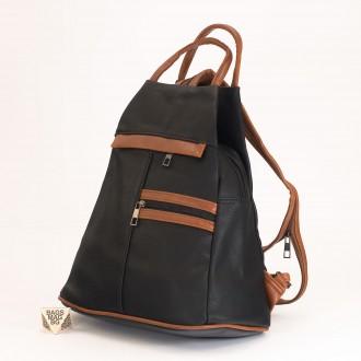 КОД: 3550 Дамска раница / чанта от плътна и висококачествена еко кожа в черен цвят