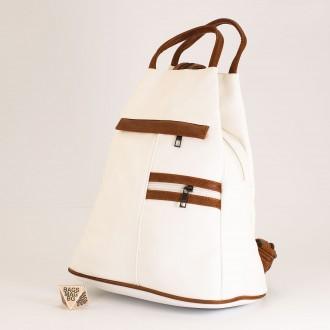 КОД: 3550 Дамска раница / чанта от плътна и висококачествена еко кожа в бял цвят