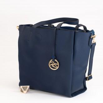КОД: 391 Дамска чанта от плътна и висококачествена еко кожа в син цвят