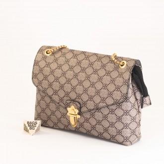 КОД: H398 Дамска чанта от плътна и висококачествена еко кожа в цвят каки