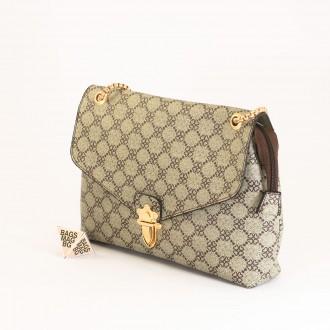 КОД: H398 Дамска чанта от плътна и висококачествена еко кожа в сив цвят