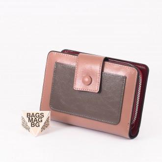 КОД : 39B Дамски портфейл от плътна и висококачествена еко кожа в розов цвят