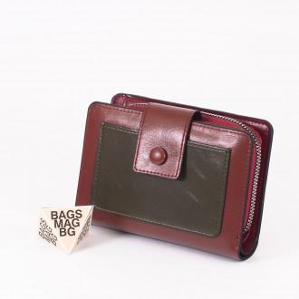 КОД : 39B Дамски портфейл от плътна и висококачествена еко кожа в кафяв цвят