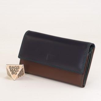 КОД : 406 Дамски портфейл от естествена кожа в цвят лилаво/кафяво