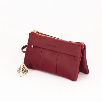 КОД : 5025 Дамски портфейл от естествена кожа в цвят бордо
