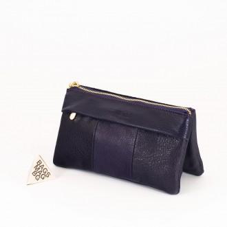 КОД : 5025 Дамски портфейл от естествена кожа в тъмно лилав цвят