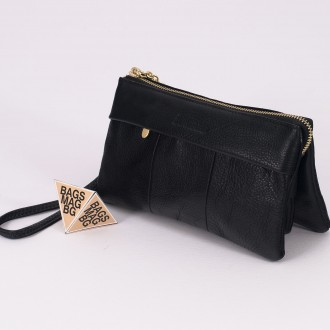 КОД : 5025 Дамски портфейл от естествена кожа в черен цвят