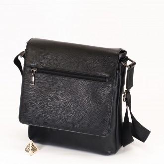 КОД: 507 Мъжка чанта от естествена кожа в черен цвят