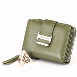 КОД : 580 Дамски портфейл от плътна и висококачествена еко кожа в зелен цвят