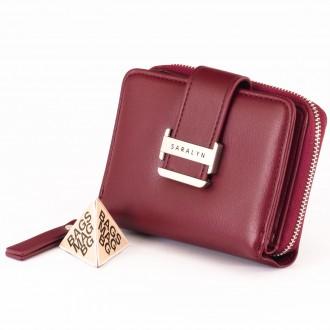 КОД : 580 Дамски портфейл от плътна и висококачествена еко кожа в цвят бордо