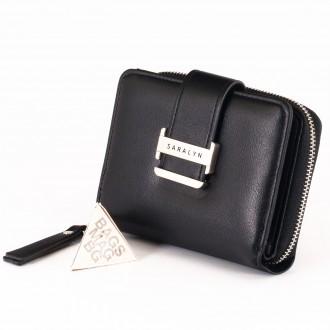 КОД : 580 Дамски портфейл от плътна и висококачествена еко кожа в черен цвят