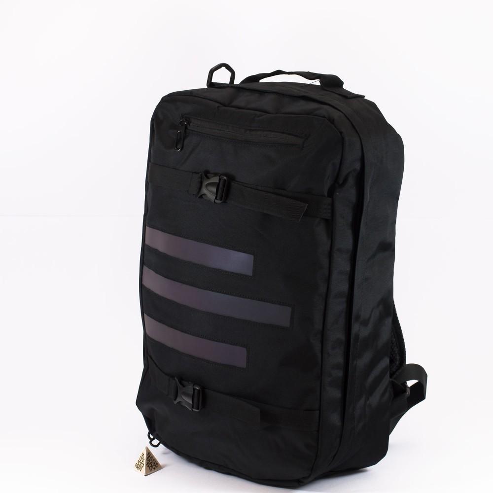КОД: 5960 Голяма раница от текстил със светлоотразителна лента в черен цвят