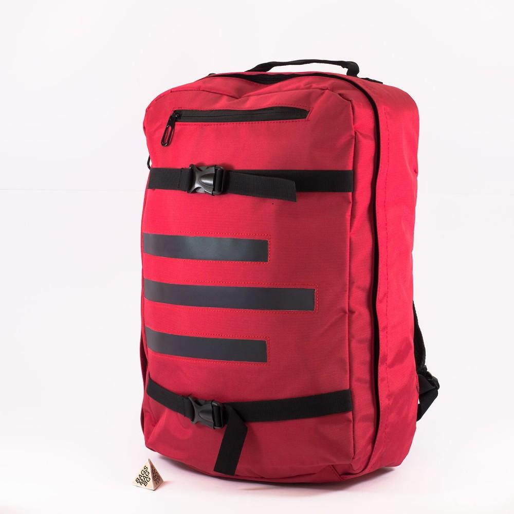 КОД: 5960 Голяма раница от текстил със светлоотразителна лента в червен цвят