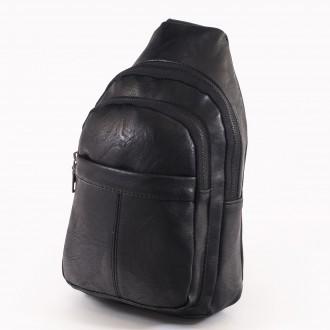 КОД: 60200 Мъжка чанта от плътна и висококачествена еко кожа в черен цвят