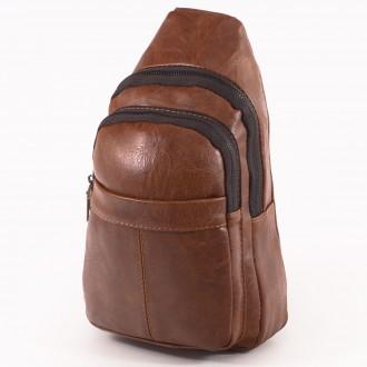КОД: 60200 Мъжка чанта от плътна и висококачествена еко кожа в кафяв цвят