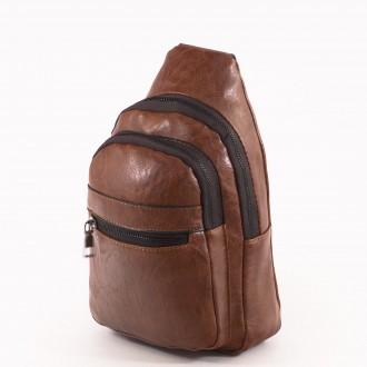 КОД: 60900 Мъжка чанта от плътна и висококачествена еко кожа в кафяв цвят