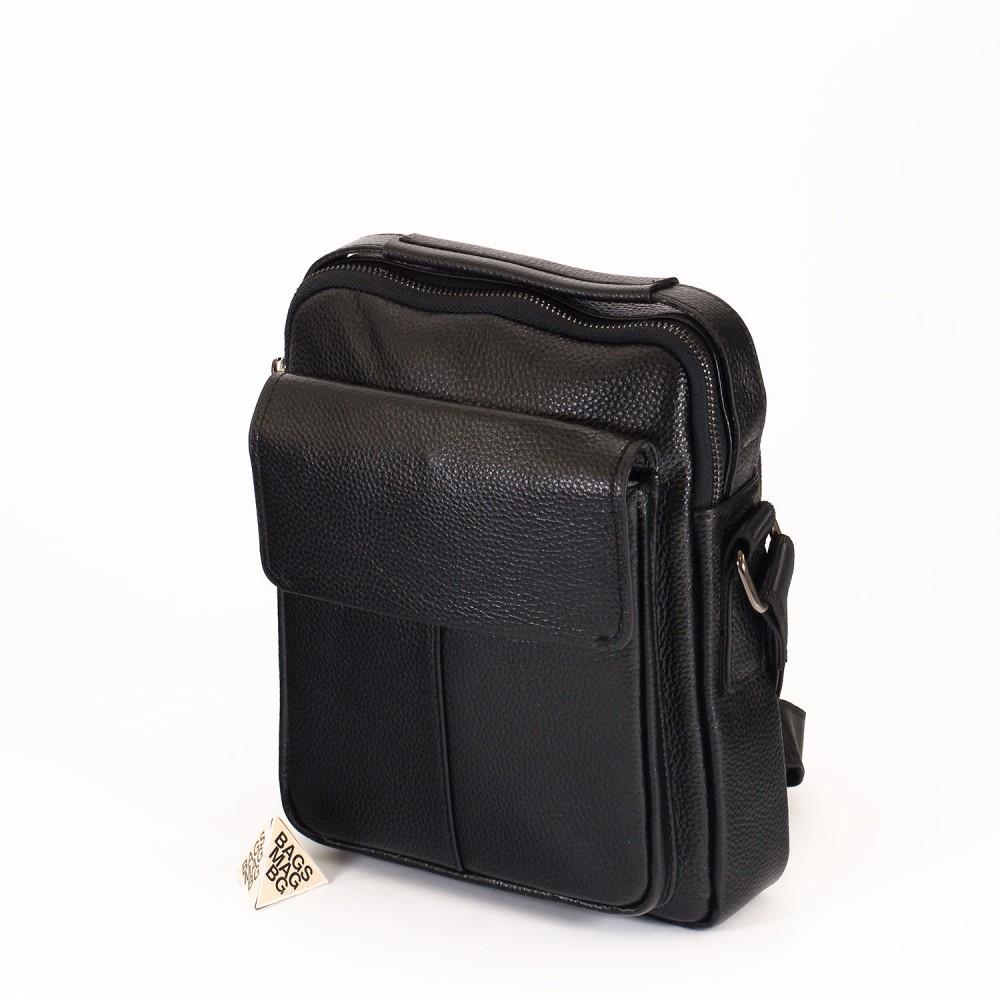 КОД : 66328 Мъжка чанта от естествена кожа в черен цвят