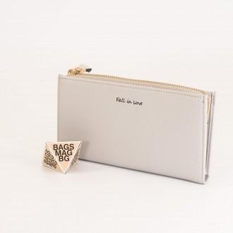 КОД : 7095 Дамски портфейл от плътна и висококачествена еко кожа в сив цвят
