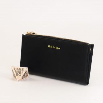 КОД : 7095 Дамски портфейл от плътна и висококачествена еко кожа в черен цвят