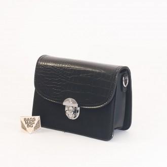 КОД : 7204 Малка дамска чанта от плътна и висококачествена еко кожа в черен цвят