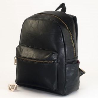 КОД: 8085 Дамска раница от плътна и висококачествена еко кожа в черен цвят