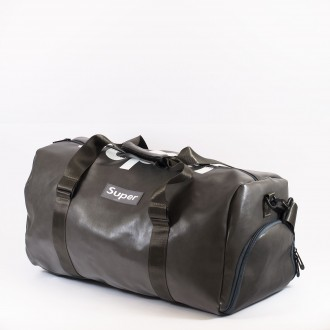 КОД: 8099 Пътна чанта/сак от плътна и висококачествена еко кожа в сив цвят