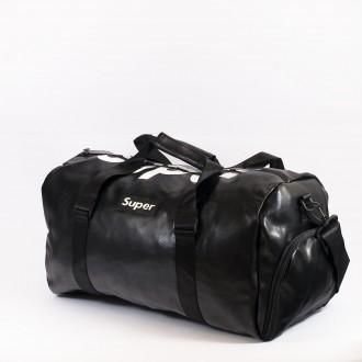 КОД: 8099 Пътна чанта/сак от плътна и висококачествена еко кожа в черен цвят