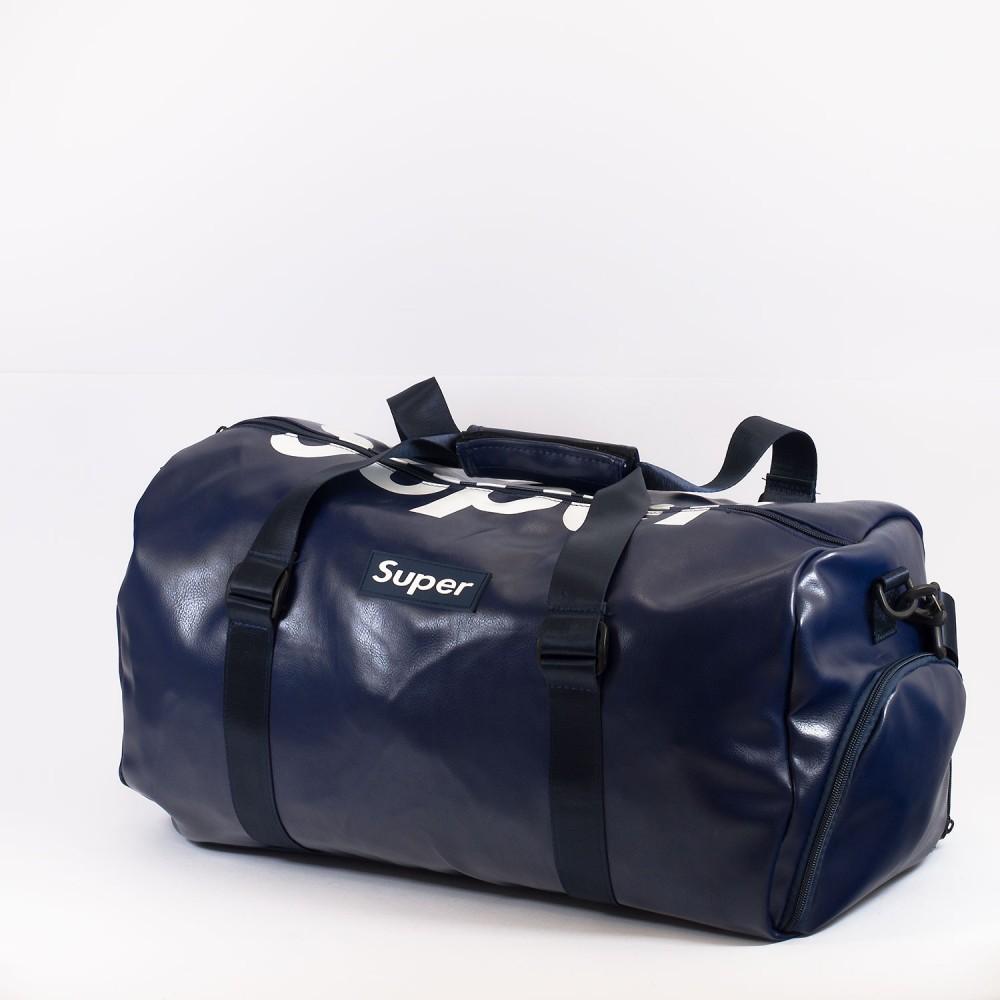 КОД: 8099 Пътна чанта/сак от плътна и висококачествена еко кожа в тъмно син цвят