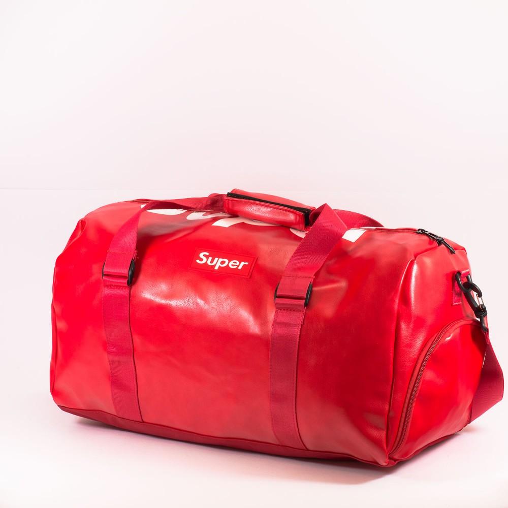 КОД: 8099 Пътна чанта/сак от плътна и висококачествена еко кожа в червен цвят