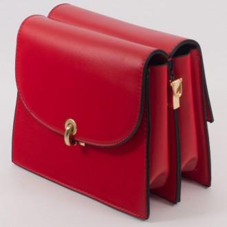 КОД : 8862 Малка дамска чанта с две лица от плътна и висококачествена еко кожа в червен цвят