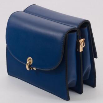 КОД : 8862 Малка дамска чанта с две лица от плътна и висококачествена еко кожа в син цвят