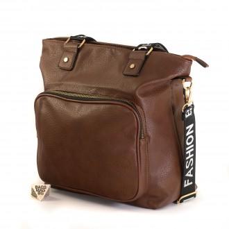 КОД : 8963 Дамска чанта от плътна и висококачествена еко кожа в кафяв цвят