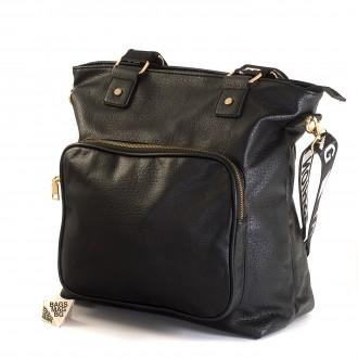 КОД : 8963 Дамска чанта от плътна и висококачествена еко кожа в черен цвят