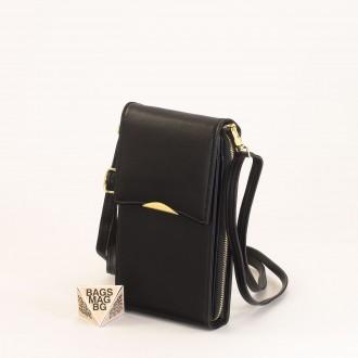 КОД : 9009 Малка дамска чанта от еко кожа в черен цвят - за телефон