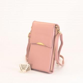КОД : 9009 Малка дамска чанта от еко кожа в розов цвят - за телефон