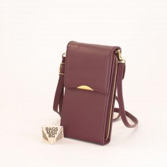 КОД : 9009 Малка дамска чанта от еко кожа в цвят бордо - за телефон