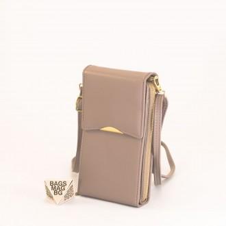 КОД : 9009 Малка дамска чанта от еко кожа в цвят каки - за телефон