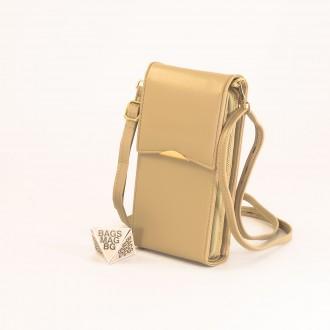 КОД : 9009 Малка дамска чанта от еко кожа в жълт цвят - за телефон