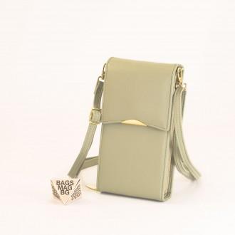КОД : 9009 Малка дамска чанта от еко кожа в зелен цвят - за телефон