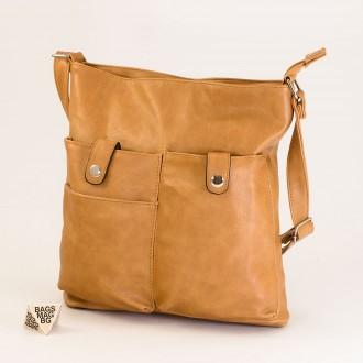 КОД: 91577 Дамска чанта от плътна и висококачествена еко кожа в цвят каки