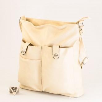 КОД: 91577 Дамска чанта от плътна и висококачествена еко кожа в светло бежов цвят