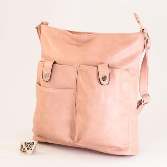КОД: 91577 Дамска чанта от плътна и висококачествена еко кожа в розов цвят