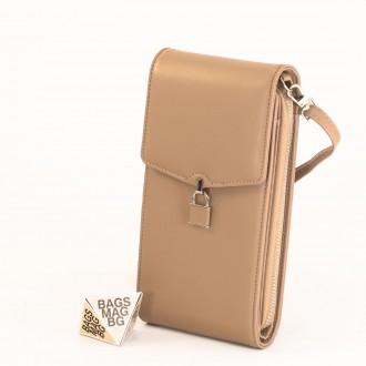 КОД : 9488 Малка дамска чанта от еко кожа в цвят априкот - за телефон