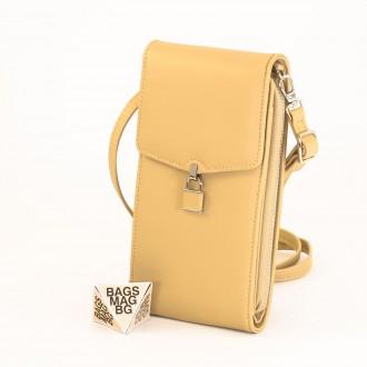 КОД : 9488 Малка дамска чанта от еко кожа в жълт цвят - за телефон