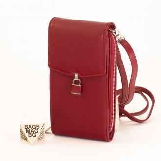КОД : 9488 Малка дамска чанта от еко кожа в червен цвят - за телефон